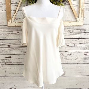 🆕 NEW Ann Taylor Factory Cream Cold Shoulder Top